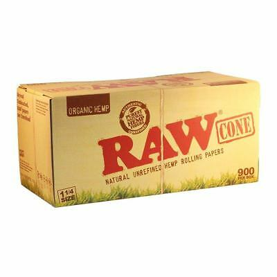 900 Count Raw 1 1/4 Size Pre-Rolled Cones Natural Organic Hemp + Tips Full Box
