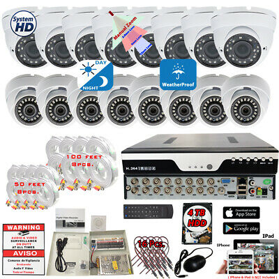 16 Channel H264 HD DVR 16x HD Outdoor Night Vision Security Camera System 4TB