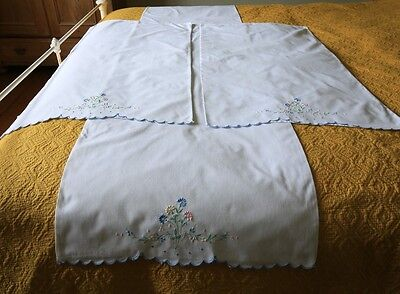 Vintage Embroidered Floral Pillow Case Set of Two and Bolster Pillow Case