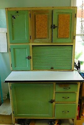 Vtg painted HOOSIER KITCHEN CABINET WITH FLOUR BIN ORIGINAL FINISH