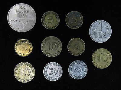 Lot of 11 East/West Germany coins 1949-1950 5,10,50 Pfennig 1 Deutsche Mark 1969