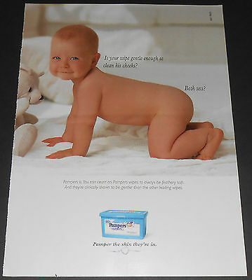 1999 vintage ad - PAMPERS BABY WIPES 1-PAGE PRINT ADVERT - GIRL DIAPERS NUDE