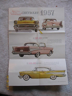 1957 Chevrolet Car Original Advertising Brochure Poster