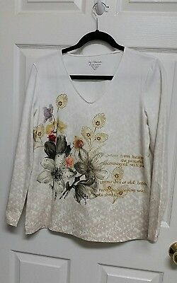 Chico's Size 2 V Neck Long Sleeve Pullover Top Floral Print with Embellishment