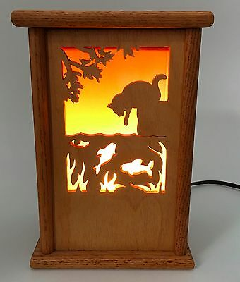 Cut-Out Wooden Table Lamp Night Light Shadowbox Different Patterns Cat Halloween