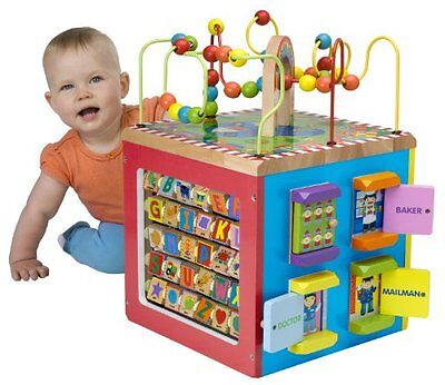 Toddler Activity Wooden Cube Colorful Baby Learning Educational Toy Game Fun New