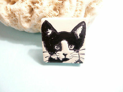 CUTE CAT JEWELRY Tuxedo Cat PIN BROOCH Black White Cat Lapel Pin NEW HANDMADE