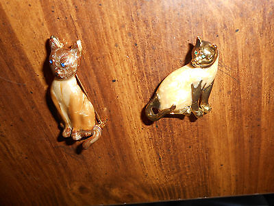 Vintage Lot Of - 2 - Siamese Enamel W/goldtone Cat Pin, Brooch
