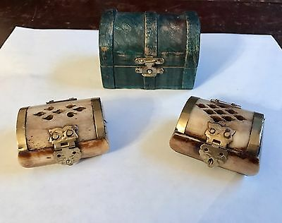 Made in India 2 Trinket Vintage Boxes, Magenta Stone & 1 Wooden VintageGreen Box