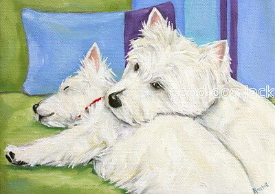 """West Highland Terrier ACEO WESTIE PRINT Painting """"ME AND MOM"""" Dog RANDALL"""