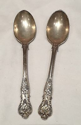 Pair of Beautiful Antique Mappin & Webb Solid Silver Dessert Spoons