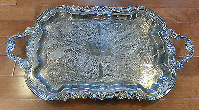 FB Rogers Silver Co Ornate Footed Silver Plated Butler Tea Set Tray w/ Handles