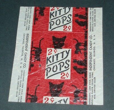 Vintage 1940's KITTY POPS candy wrapper BLACK CAT HALLOWEEN