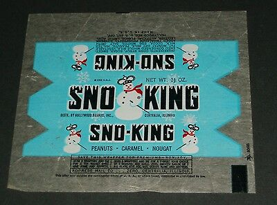 Vintage 1950's SNO KING candy bar wrapper Hollywood Brands Inc