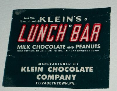 Vintage 1960's Klein's LUNCH BAR candy bar wrapper
