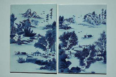 Set Of 2 Antique Chinese Porcelain Hand Painted Tiles Plaques