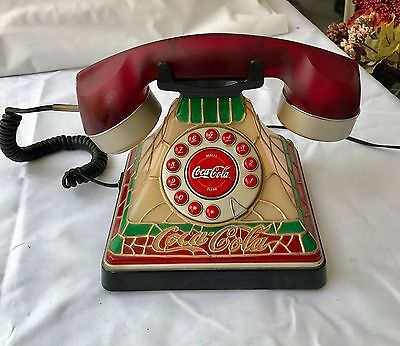 Coca-Cola Tiffany Stained Glass Telephone Plug In Desk Phone Lights Up