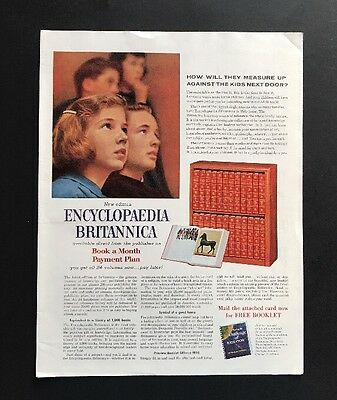 Encyclopedia Britannica   1961 Vintage Print Ad   Large Ad Eduction Learning