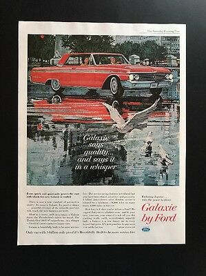 Ford Galaxie | 1961 Vintage Print Ad | Large Ad Red Car 1960s Style