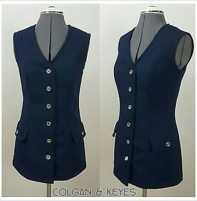 Vtg 70s Mod Vest w/ POCKETS Navy BlueTunicTop Nautical ACT III Sleeveless UNION