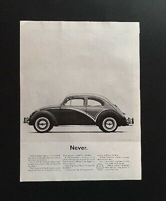 Volkswagen VW | 1961 Vintage Print Ad | Large Ad Car 1960s Style