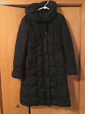 COLE HAAN Black Down Feather Fill Puffer Jacket Long Coat Women's Medium