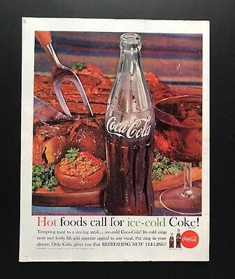 Coke | 1961 Vintage Print Ad | Large Ad Ice Cold Refreshment 1960s
