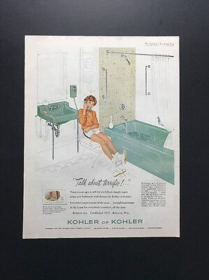 Kohler Of Kohler | 1961 Vintage Print Ad | Large Ad Bathroom Fixtures 1960s
