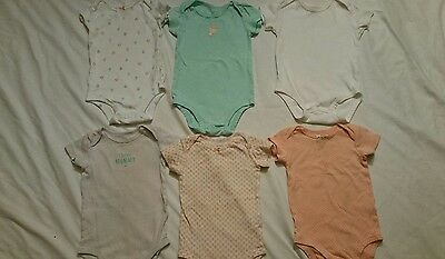 Carter's Girls Bodysuits 9 months lot of 6 cotton