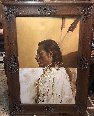 Large Native American Indian Chief Oil Painting Signed/Numbered 4 1/2 X4 Feet