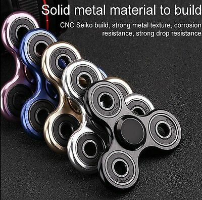 New Tri Metal Hand Spinner Mini Fidget Desk Toy EDC Gift For Kids AUTISM ADHD AU