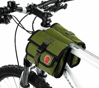 ROSWHEEL Canvas Bike Saddle Frame Front Top Tube Bicycle Bag Army Green Outdoor