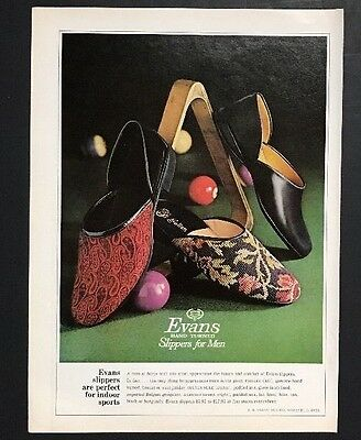 Evans Slippers For Men | 1966 Vintage Print Ad | 1960s Men's Fashion Comfort