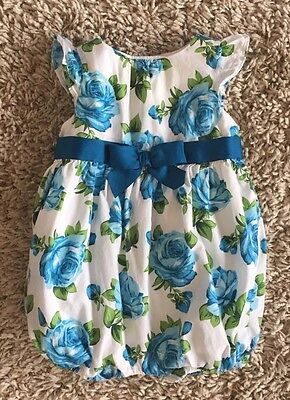 Janie And Jack Baby Girls Summer Rose Teal Floral Print Bubble Romper. 3-6 Mo