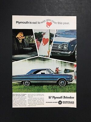 '67 Plymouth Belvedere   1966 Vintage Print Ad   1960s Fast Style Car Automobile
