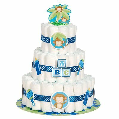 Boy Monkey Baby Shower Diaper Cake Kit, 25pc