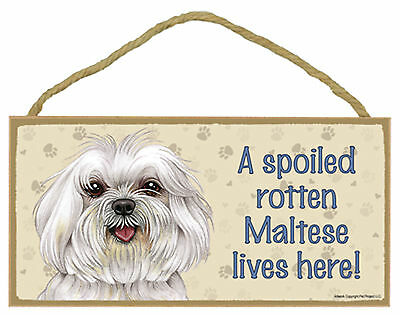 A spoiled rotten Maltese lives here! Wood Puppy Dog Sign Plaque Made in USA
