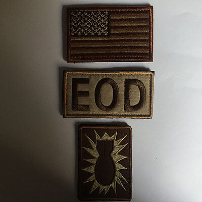3PCS Explosive Ordnance Disposal EOD American Flag Tactical Morale Badge Patch