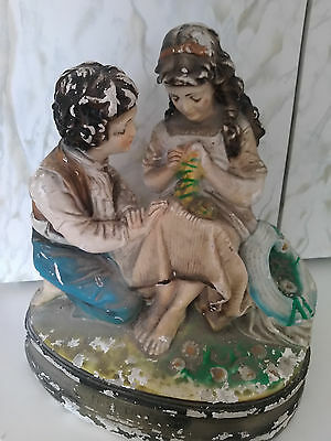 First Love Statue - Large Chalkware Statue Boy w/ Girl