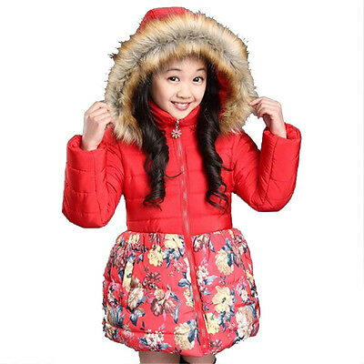Clearance!! Girls Winter Coat Plus Thick Floral Padded-Cotton Fur Collar Jacket