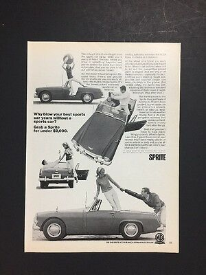 Sprite Austin-Healey Sports Car Convertible | 1966 Vintage Ad | 1960s