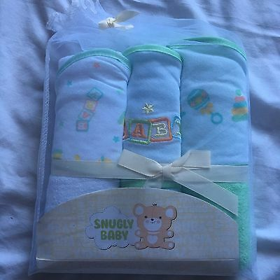 New 3 Hooded Towels Baby Infant Shower Gift Green Boys Girls Bath