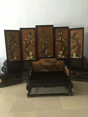 Red sandalwood inlaid large lacquer open screen screen throne two sets