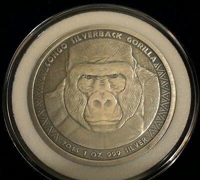 2016 1 oz Congo Silver Silverback Gorilla Coin - Antique Finish -