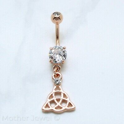 Rose Gold Triple Plate Celtic Knot Triquetra Simulated Diamond Belly Navel Ring