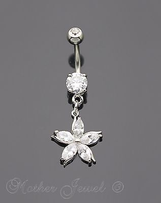 Silver Surgical Steel Daisy Flower Simulated Diamond Belly Button Navel Ring