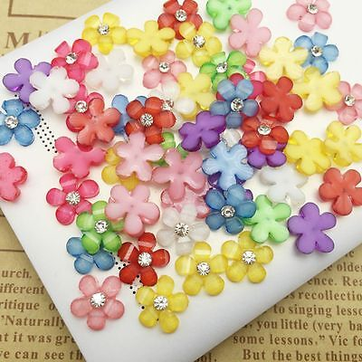 Crystal Handmade Flatback Scrapbooking Resin Flowers Crafts For Phone/wedding