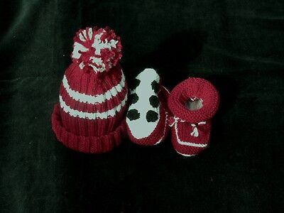 HAND KNITTED MANLY SEA EAGLES FOOTBALL BABY BEANIE & BOOTIES SET 0- 3 Months