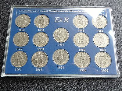 1953-1966 Elizabeth II English Shilling 14 Coin Set in Presentation Case