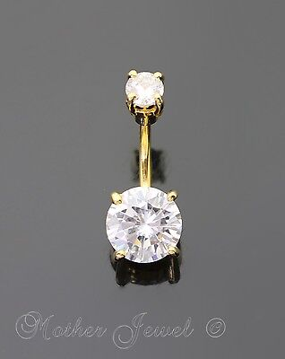 14K Yellow Gold Triple Plated Large 10Mm Simulated Diamond Belly Navel Ring